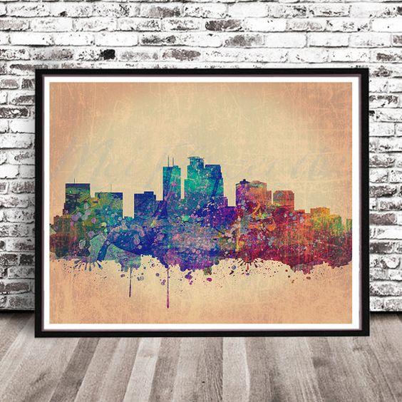Minneapolis Map Art City Print by MrCityPrinting on Etsy | Bedroom ...