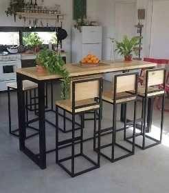 Barra Desayunador 2banq Hierro Y Madera Industrial Calidad 16 900 00 Banquetas De Madera Diseño Muebles De Cocina Muebles Hierro Y Madera