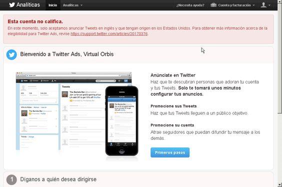 Sólo permiten publicitar tweets enviados desde USA y en inglés :(