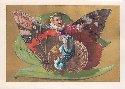 Brown Butterfly with Child & Blue Feather No Advertising Victorian c 1880s