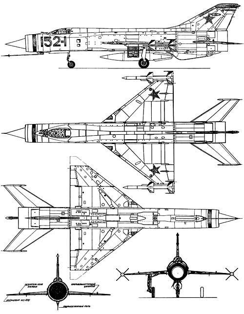 Mikoyan Gurevich Ye-152 (1961) interceptor prototype. Two world records of speed (M 2.85 without missiles, M 2.5 with missiles), one world record of altitude (22'680 m). Precursor to MiG-25.