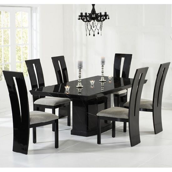 Hamlet Marble Dining Table In Black And 6 Ophelia Grey Chairs In