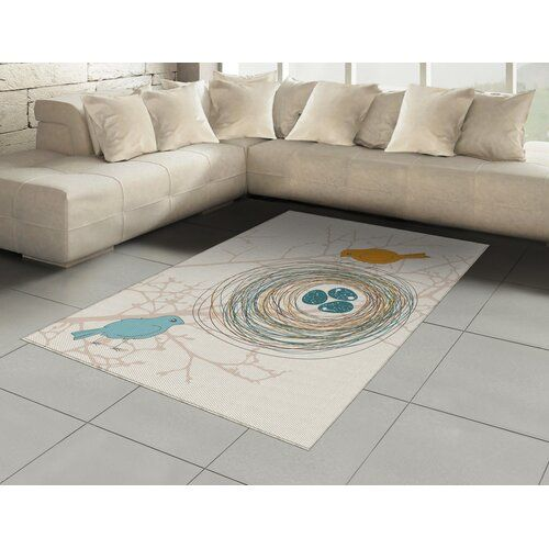 Yellow Pale Blue Rug Ebern Designs
