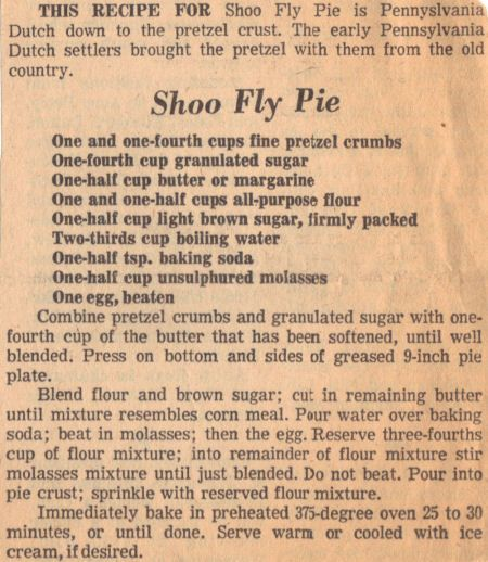 Shoofly pie recipe  Delicious I tried it in the town of Intercourse Lancaster PA