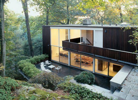 Haus Passiv Erdgeschoss Überdachung Holz Teich