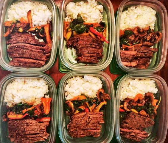 No rest for the righteous. Fresh from vacation and back on that grind! Major protein preps with Gordon Ramsay style Top Sirloin, a sauté of kale, spinach, mushrooms and sweet peppers with jasmine rice. by @MyDeliciousBliss on Instagram