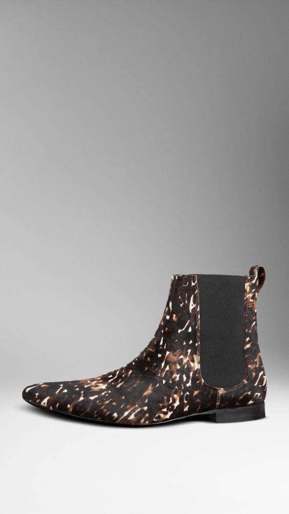 Animal Print Calfskin Chelsea Boots | Burberry
