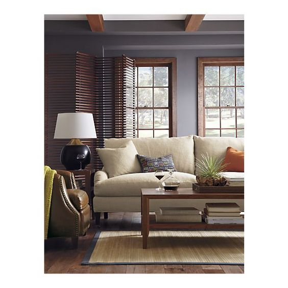 Essex sofa with casters grey walls wood trim and grey for Dark blue walls in living room