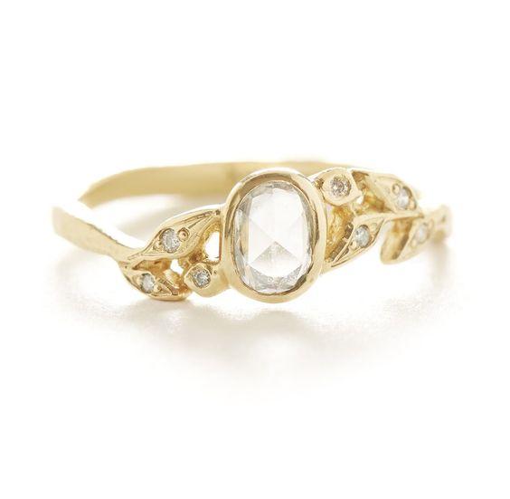 Jennifer Dawes Vine Oval Diamond Leaf Ring