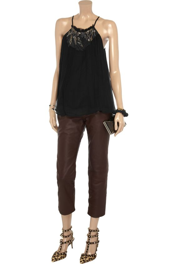Silk chiffon top and skinny jeans