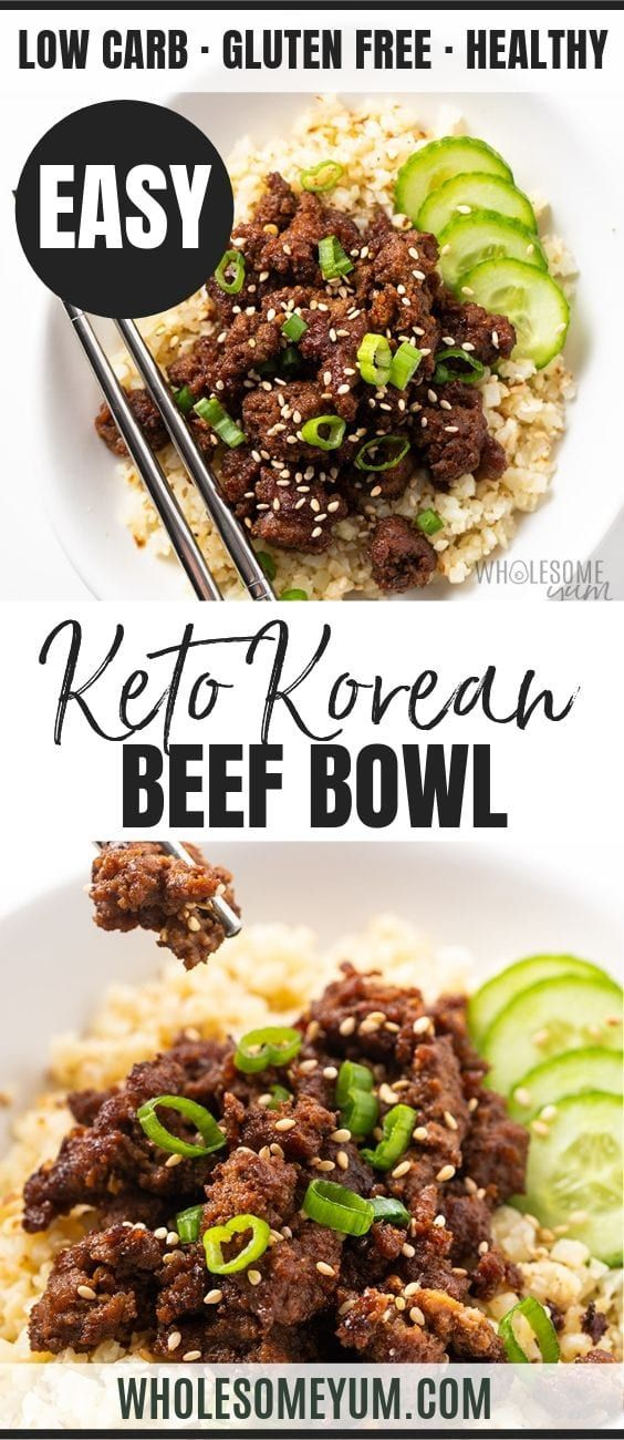 Easy Keto Korean Ground Beef Bowl Recipe Beef Bowl Recipe Ground Beef Bowl Recipe Keto Recipes Dinner