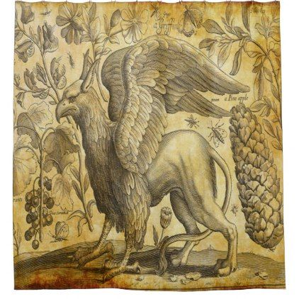 vintage griffin shower curtain - cyo customize create your own #personalize diy