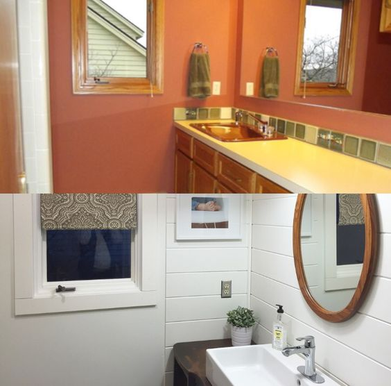 Before and after, bathroom remodel