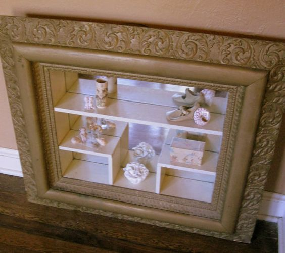 Antique gesso curio display shelves shadow box frame and for Vintage picture frame ideas