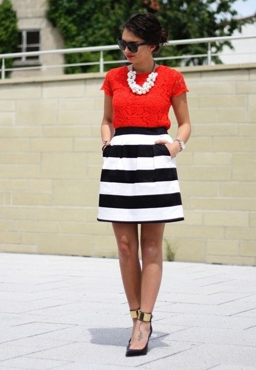 Striped skirt with lace top