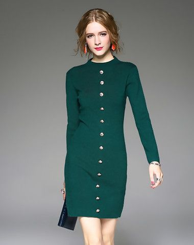 Button Decorated Long Sleeve Green Bodycon Mini Dress
