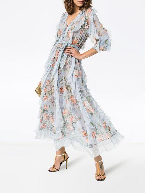 Zimmermann платье с цветочным принтом