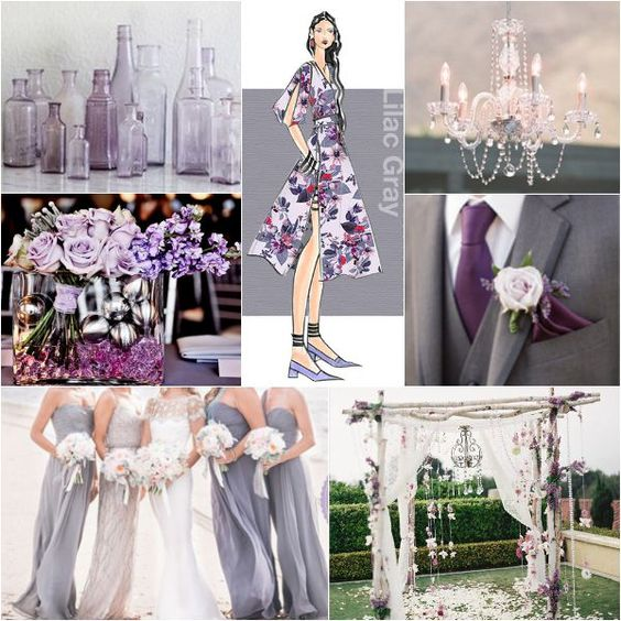 Grey Wedding Ideas: Lilac Grey Color Theme Ideas