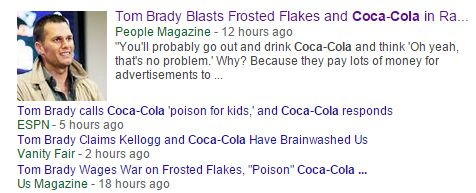 Pretty amazing to see the coverage Tom Brady's remarks about soda & sugary cereal are getting