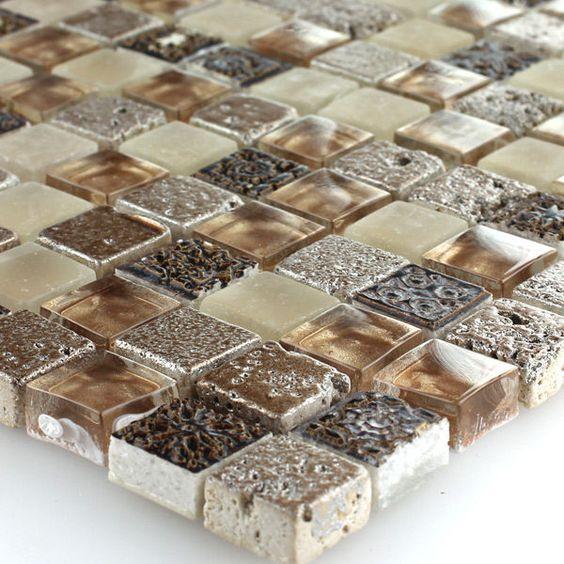 Glas Kalkstein Marmor Mosaik Fliesen Braun Beige Mix 15x15x8mm EUR 11,60  Zzgl. 4