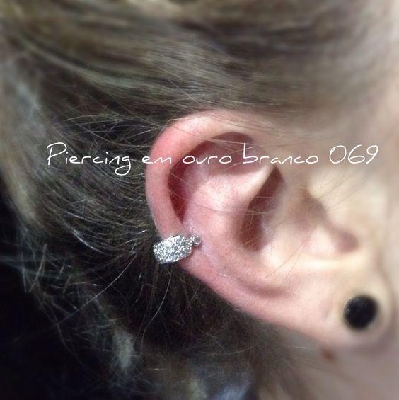Piercing em ouro branco 069