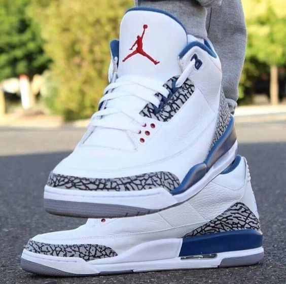 Jordans 3 White Blue Love Dope Swag Fashion Footwear Streetwear Hood Young Style