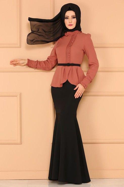 Modaselvim Abiye Cift Renkli Balik Abiye 5090ay342 Koyu Somon Elbiseler Moda Kadin