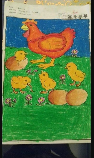 Mewarnai Gambar Ayam : mewarnai, gambar, Hasil, Gambar, Untuk, Mewarnai, Dengan, Crayon, Menggambar,, Gambar,