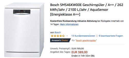 Bosch Sms46kw00e Geschirrspuler A 60 Cm Geschirrspuler Geschirr Und Kuche Und Haushalt