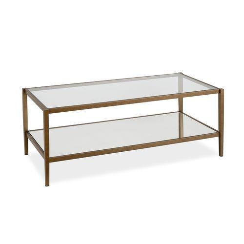 Oberon Brass Mirrored Shelf Coffee Table In 2020 Coffee Table
