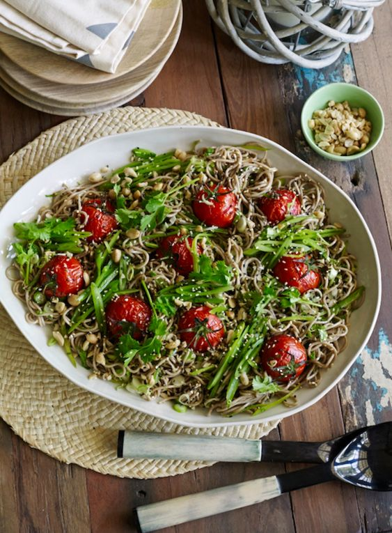 Buckwheat Noodle and Roasted Tomato Salad with Hoisin and Sesame Dressing