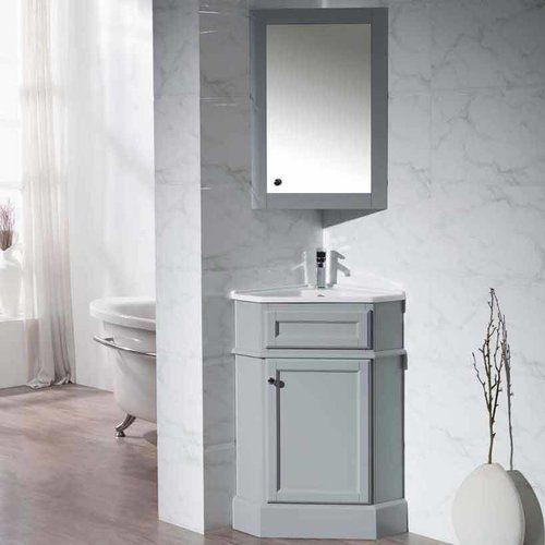 Stufurhome 27 Hampton Corner Single Vanity Gray White Top Ty 415gy Corner Bathroom Vanity Small Bathroom Vanities Bathroom Vanity
