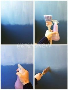 Blue ombre wall blending: