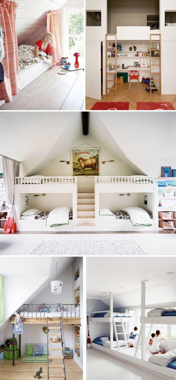 Chambre multiple j 39 installe ma tribu sous les combles for Chambre dortoir design