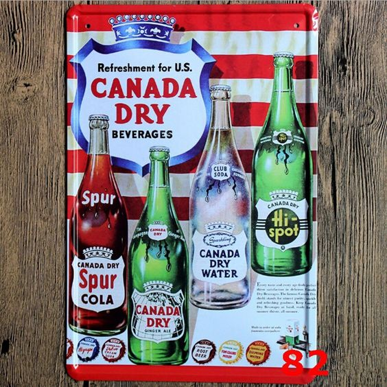 Refreshment For Canada Dry Beverages Beer Metal Crafts 20*30 Shabby Chic Plaque Sign Vintage Metal Painting Home Decor for Bar $13