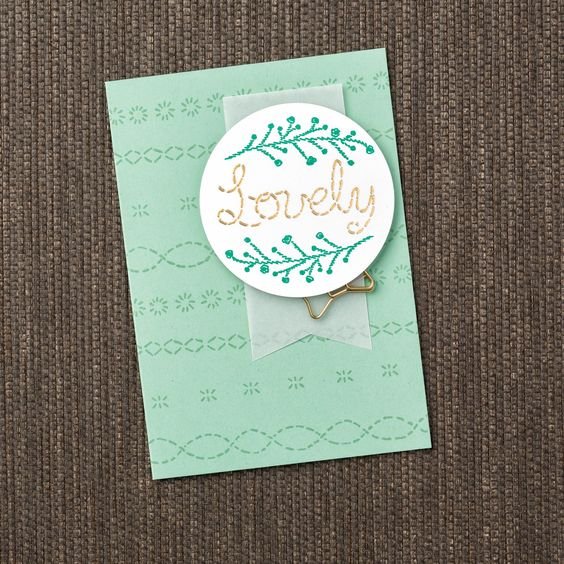 Embroidery has such a lovely look, but stamping it sure saves some time! With the Lovely Stitching stamp set you get the look of embroidery with the speed of ink and paper! #stampinup