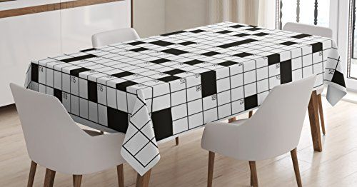 Word Search Puzzle Tablecloth By Ambesonne Classical Crossword Puzzle With Black And White Boxes And N Rectangular Table Kitchen Dining Room Luxury Appliances