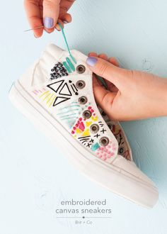 DIY embroidered canvas sneakers
