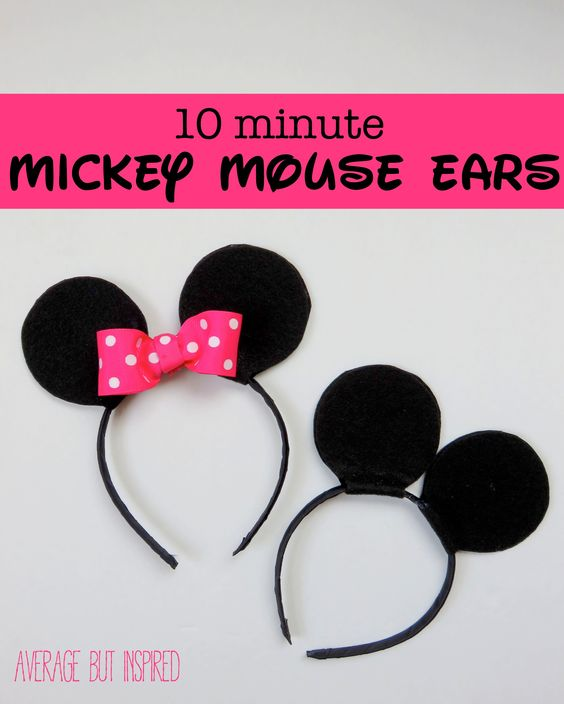 Make your own Mickey or Minnie Mouse ears in 10 minutes with a few simple supplies!