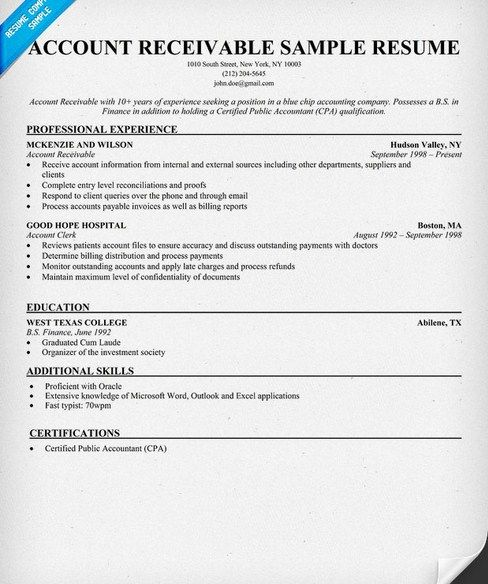 Account Receivable Resume Fair Accounts Receivable Resume Templates  Httpgetresumetemplate .