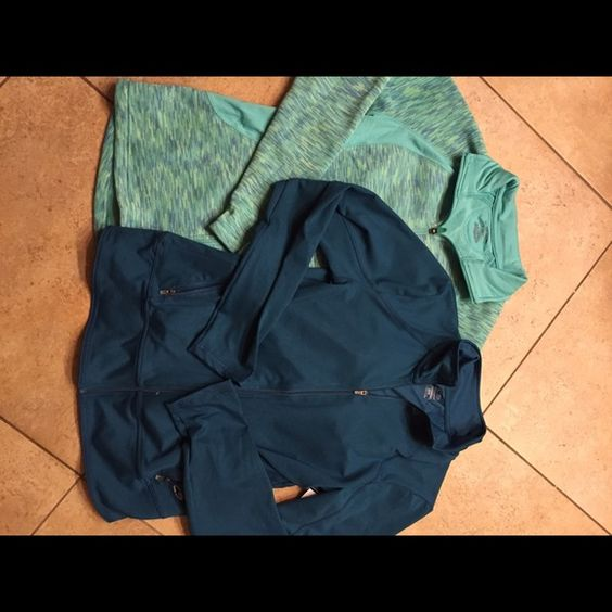 Champion DuoDry NWT bundle of 2 size M NWT bundle includes a real blue zip  front jacket made from DuoDry material for a comfortable stretch and a dry fit A zip front green/blue jacket with thumb hole detail on sleeve size M Both jackets are a size M tags  attached no flaws Champion DuoDry Jackets & Coats