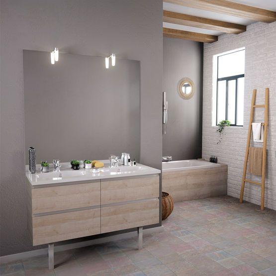 Meuble Vasque Salle De Bain 2 Tiroirs Avec Miroir Et Applique Led Meuble Vasque Vasque Salle De Bain Vasque
