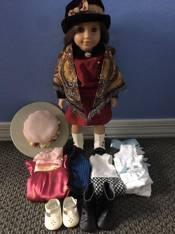 American Girl Doll Rebecca Rubin Red Herringbone Meet Dress Velvet Cuffs Hanger