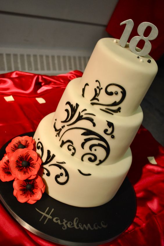 Design Of Debut Cake : Debut Cake #Red #Black #White My lil  Cakery ...