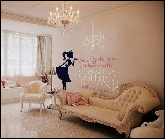 Decal Glitter, Glitter Walls, Ballerina Wall, Ballerina Room Decor, Ballerina Nursery, Decal Nursery, Wall Decals, Polkadotwalls 110, 110 00