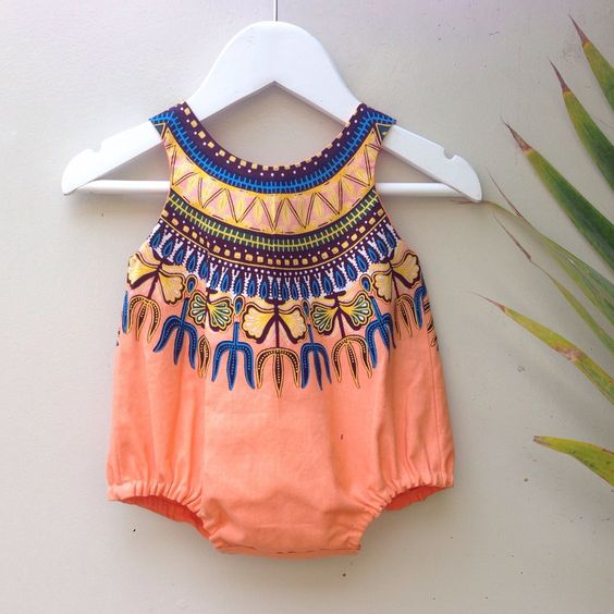 Image of Dashiki romper in peach