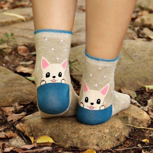Cute Puppy Blue & Grey Socks - Eleturtle