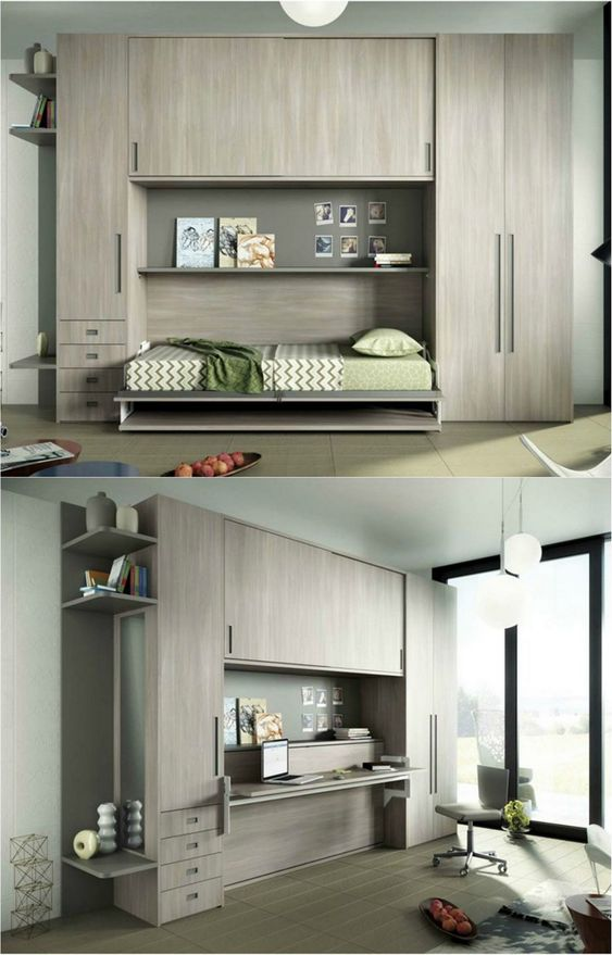 Armoire lit escamotable qui se transforme en bureau enfant for Salon qui se transforme en chambre