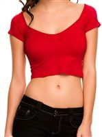 Sexy red crop top is very stretchy and cinched at center for a sexy neckline Fabric is nylon/spandex. Perfect for layering. One size fits 2-8 Free ship in U.S.A.