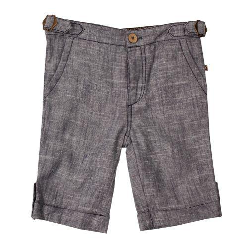<3 Axel & Hudson Navy/Cream 2-Tone Linen Cuff Shorts